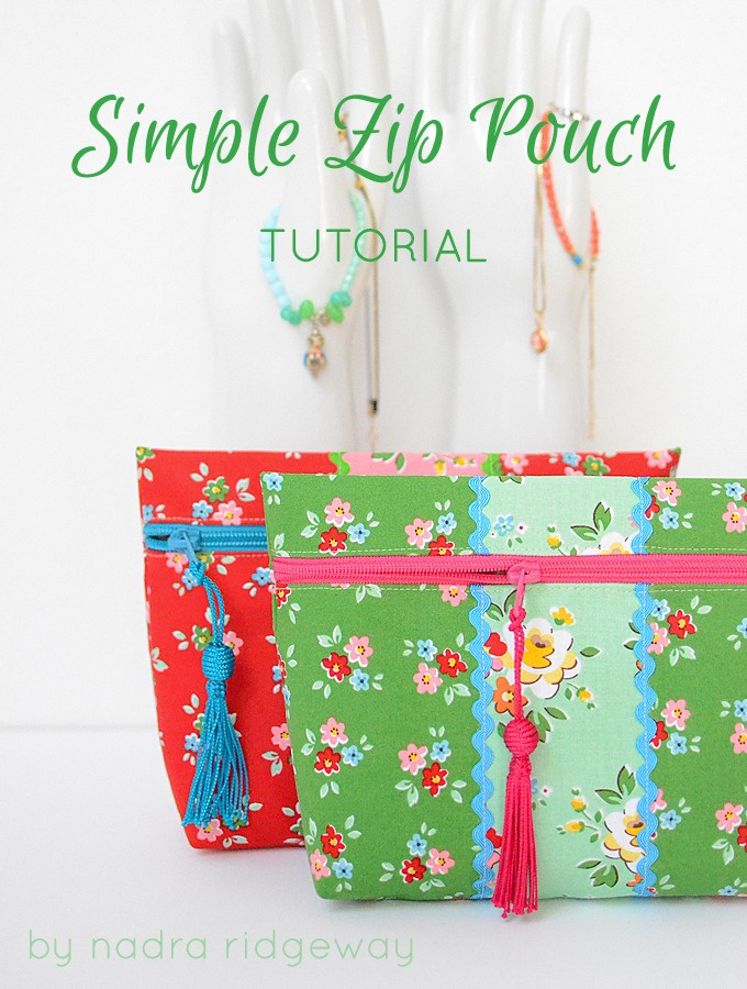 Backyard Roses Simple Zip Pouch Tutorial by ellis & higgs
