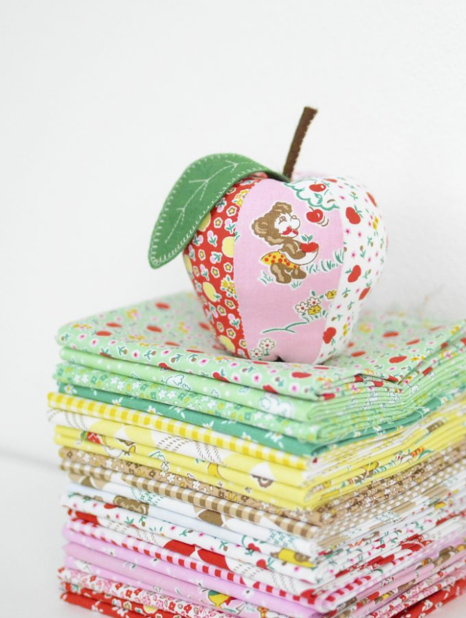 Apple Farm by Elea Lutz for Penny Rose Fabrics, Apple Pincushion Pattern by Kim Kruzich of Retro Mama