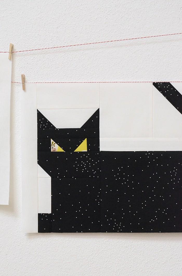 Creepy Critters Halloween Quilt - Cat Quilt Block