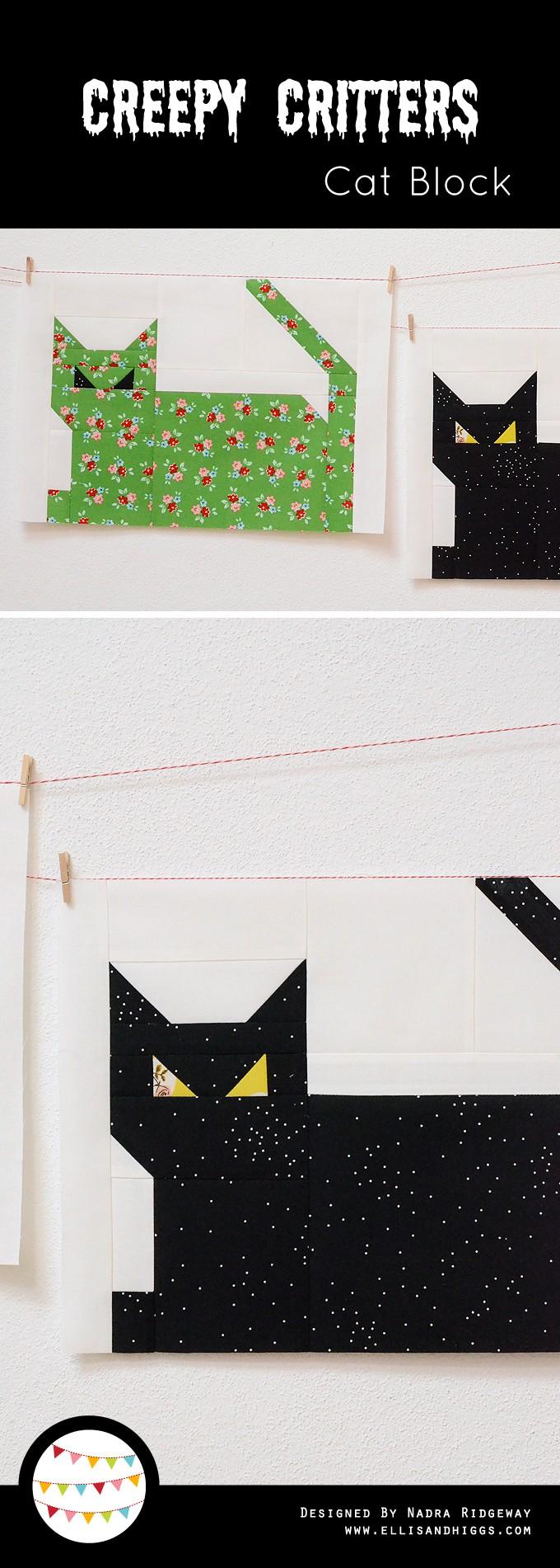 Creepy Critters Cat Quilt Block