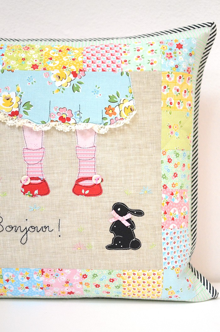Bonjour Cushion made with Backyard Roses and Bloom and Bliss by Nadra Ridgeway