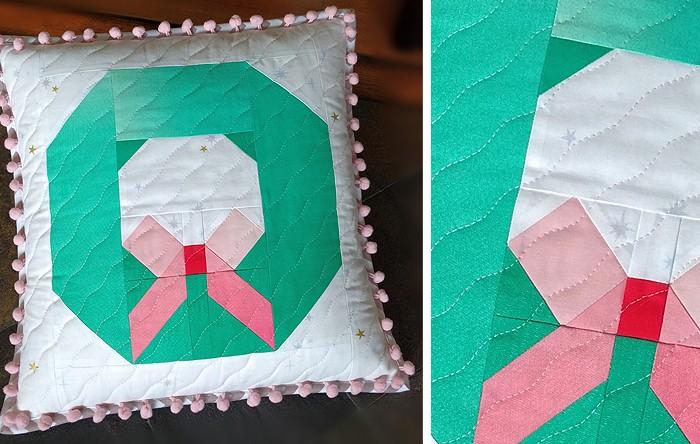 Christmas Wreath Pillow Pattern by Nadra Ridgeway of ellis & higgs