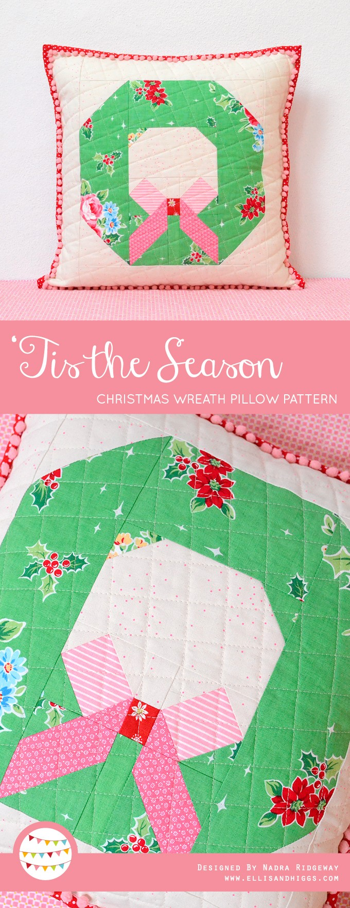Christmas Wreath Pillow Pattern by Nadra Ridgeway