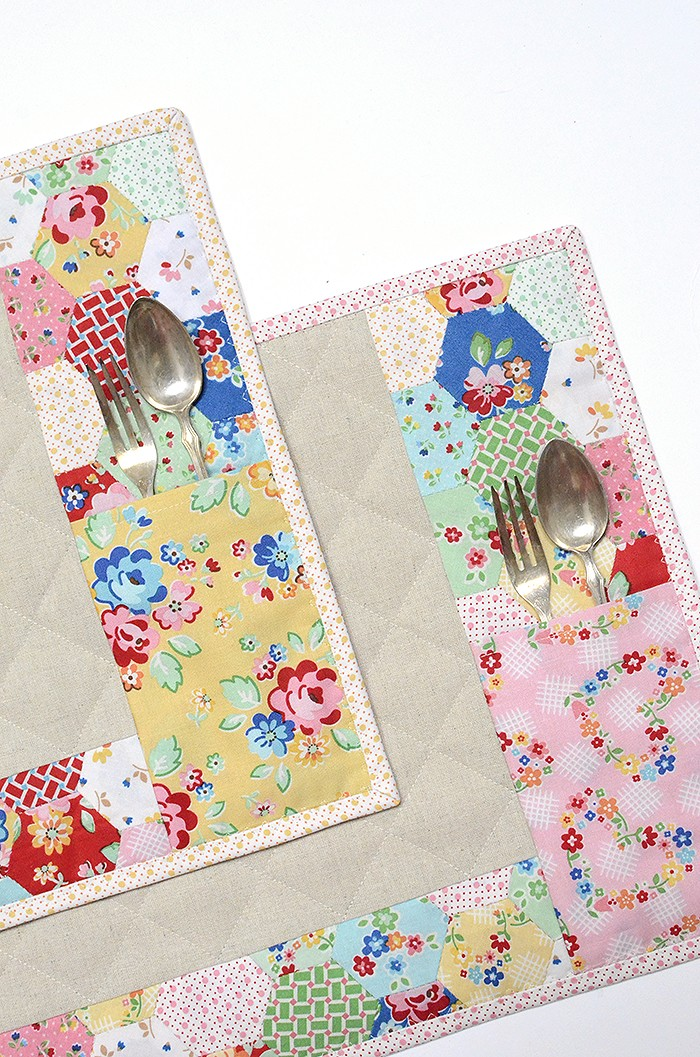 English Paper Piecing - Placemat made from Arbor Blossom by Nadra Ridgeway