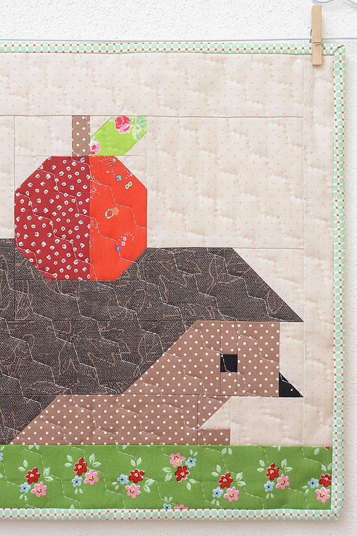 Hedgehog and Apple Mini Quilt Pattern by Nadra Ridgeway of ellis & higgs
