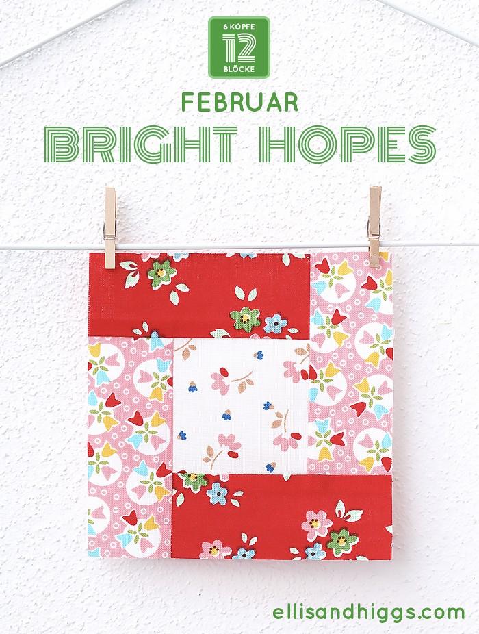 6 Köpfe 12 Blöcke - Februar Bright Hopes Quilt Block Tutorial von Nadra Ridgeway, ellis & higgs