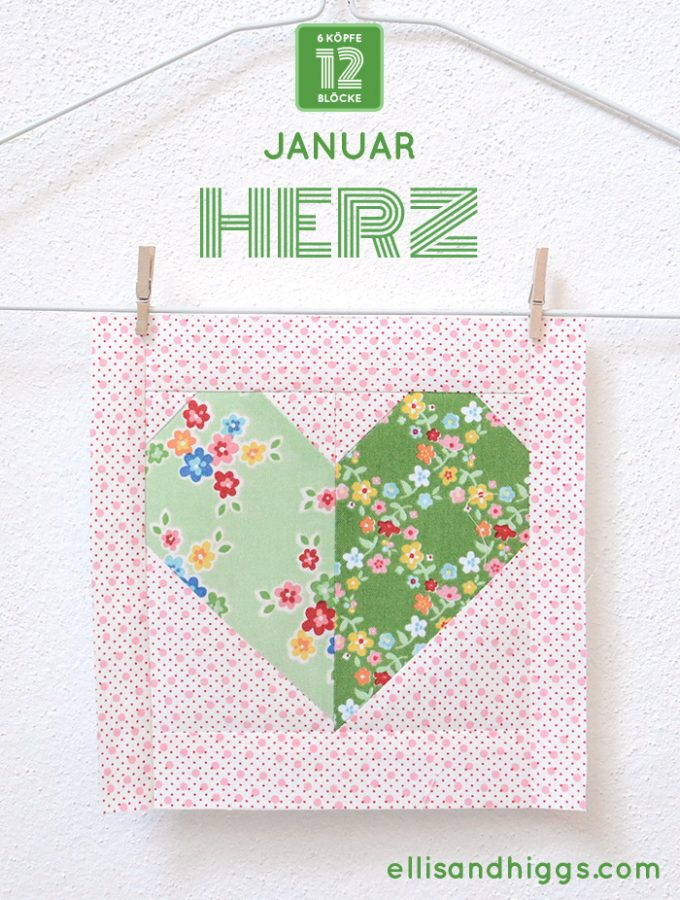 6 Köpfe 12 Blöcke – Januar: Herz Quilt Block