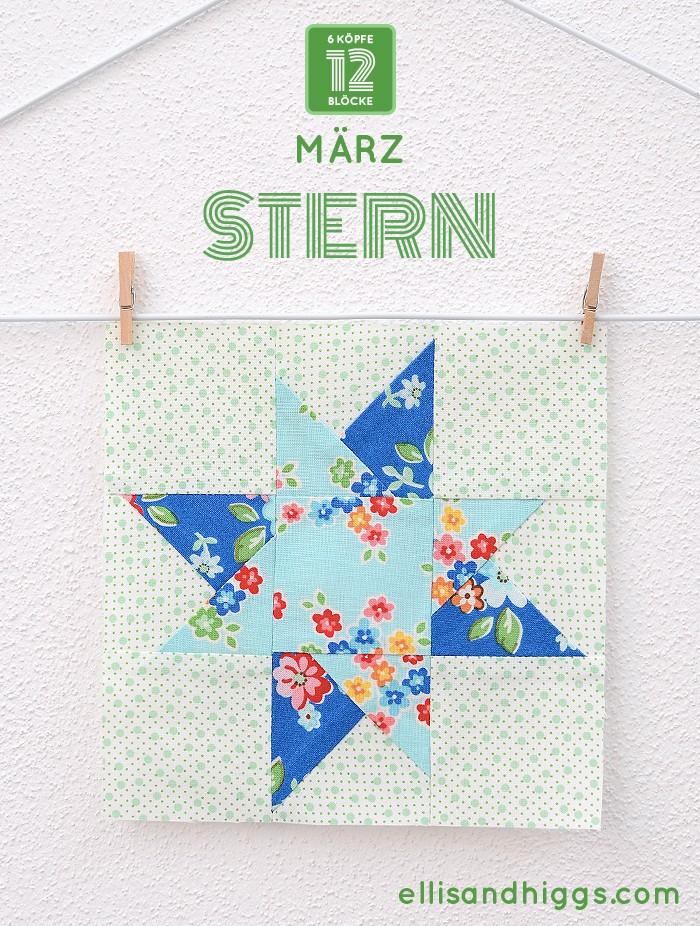 6 Köpfe 12 Blöcke - März: Stern Quilt Block von Nadra Ridgeway von ellis & higgs