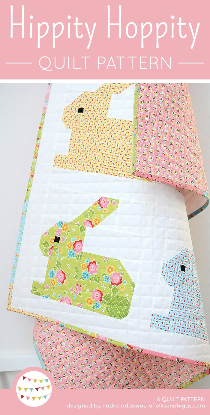 Colorful Easter Bunny Quilt hanging on the wall