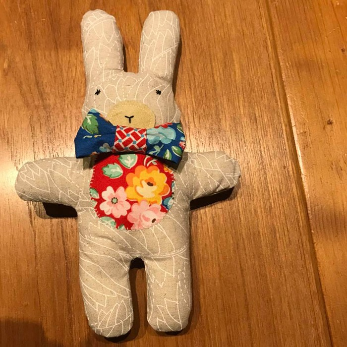 Three cute little stuffed animals: bunny, bear and lambkin, a new softie pattern by Nadra Ridgeway of ellis & higgs