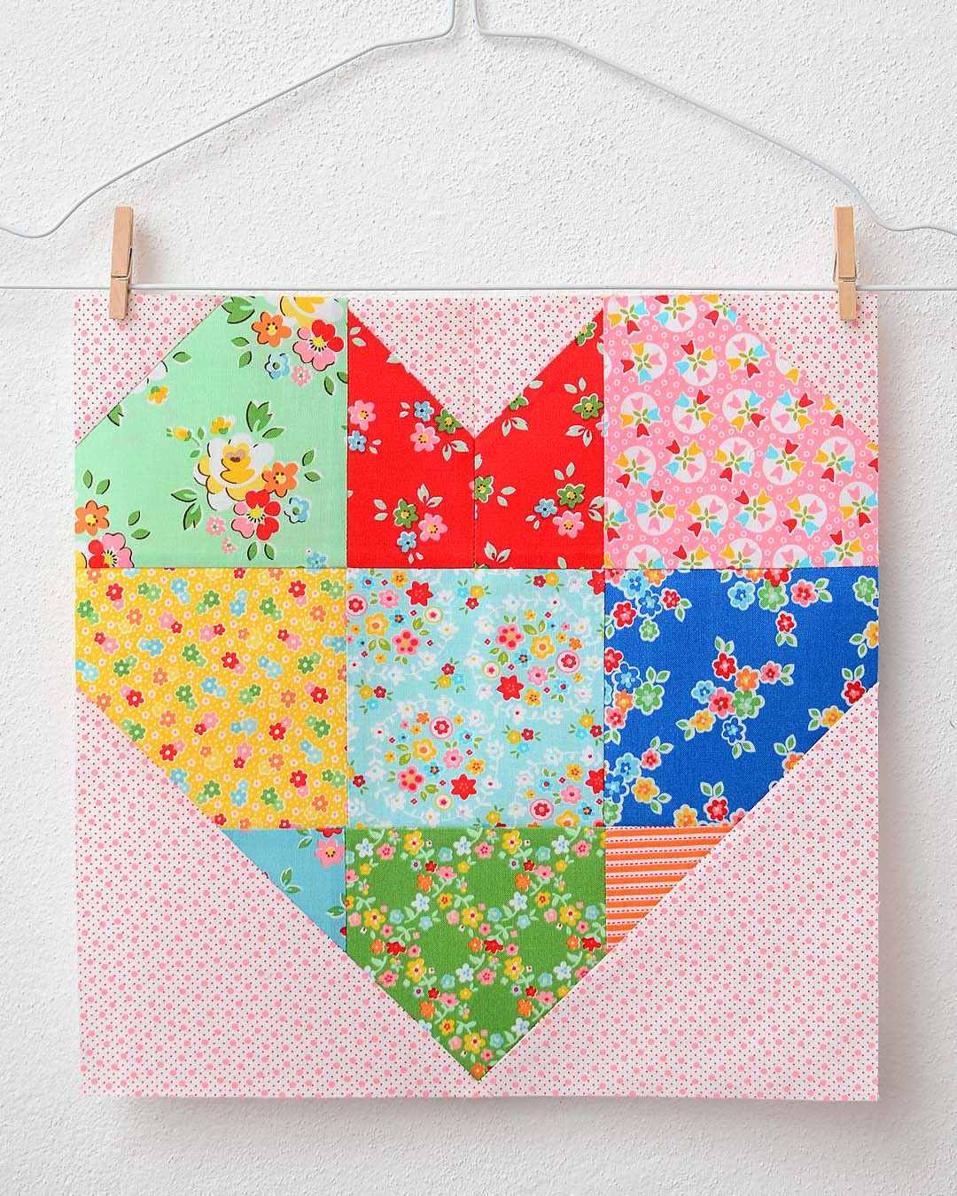 Spelling Bee Sew Along Large Heart Quilt Block by Nadra Ridgeway of ellis & higgs