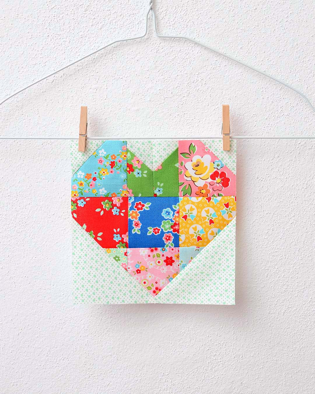 Spelling Bee Sew Along Small Heart Quilt Block by Nadra Ridgeway of ellis & higgs