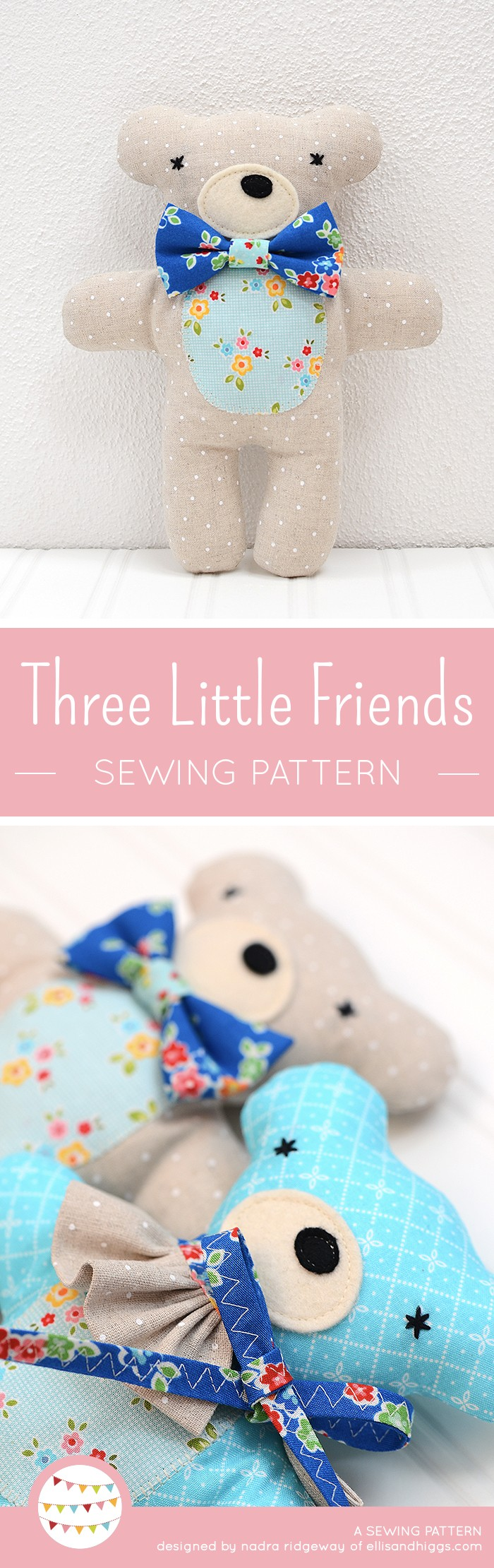 New Softie Pattern: Bunny, Bear and Lambkin - ellis & higgs