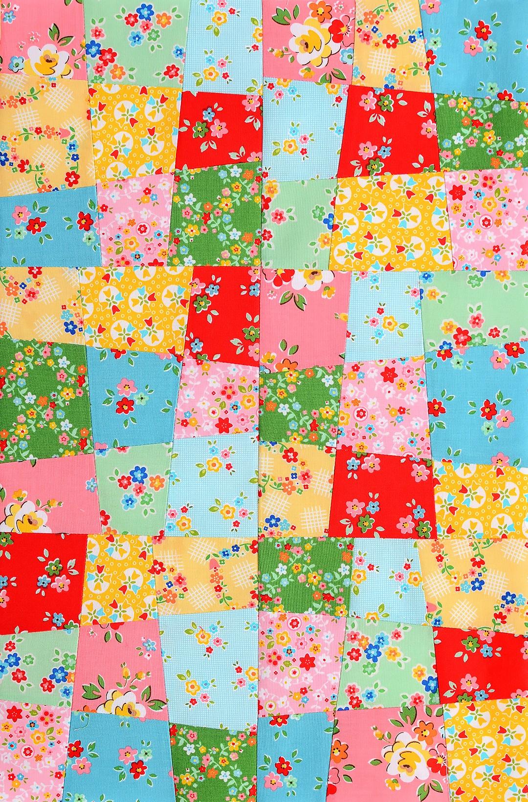 Crazy Nine Patch Quilt Block - Patchworken fuer Anfaenger
