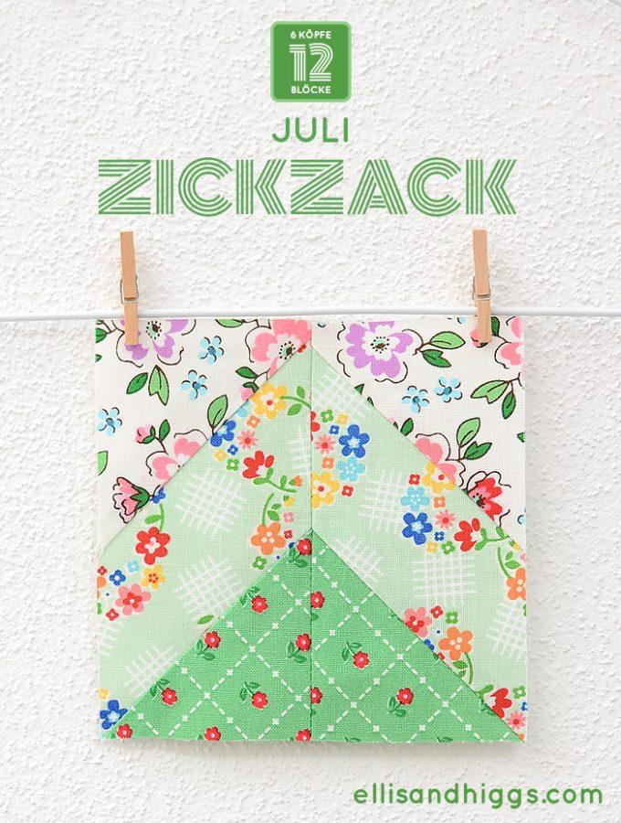 6 Koepfe 12 Bloecke Juli Zickzack Quilt Block