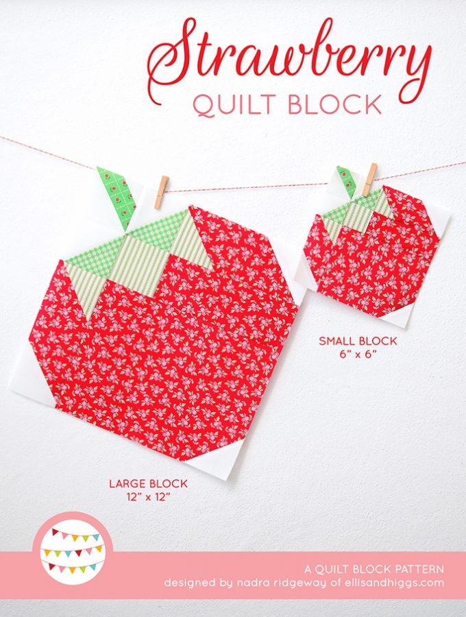 New Pattern – Strawberry Quilt Block