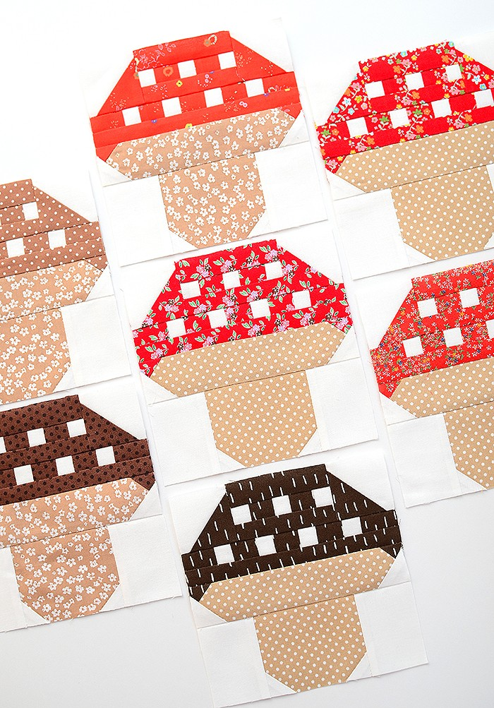 Mushroom Quilt Blocks or How to sew small pieces