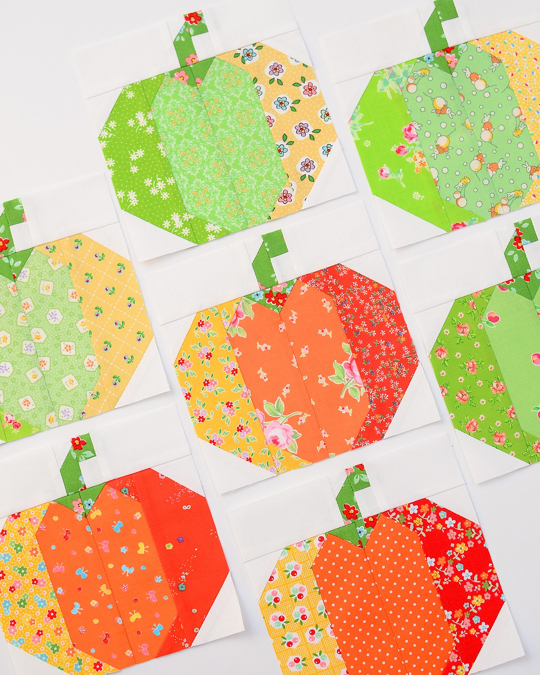 Pumpkin Quilt Block or Make your own Precuts or How to sew small pieces