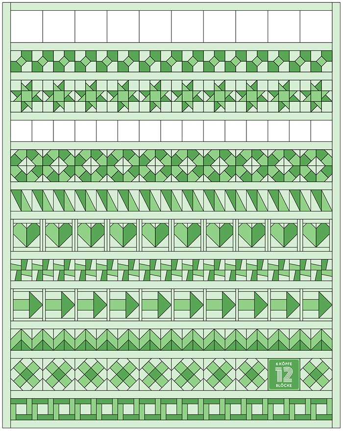 6 Koepfe 12 Bloecke Oktober One Way Quilt Block