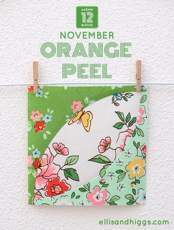 6 Koepfe 12 Bloecke November Orange Peel Quilt Block