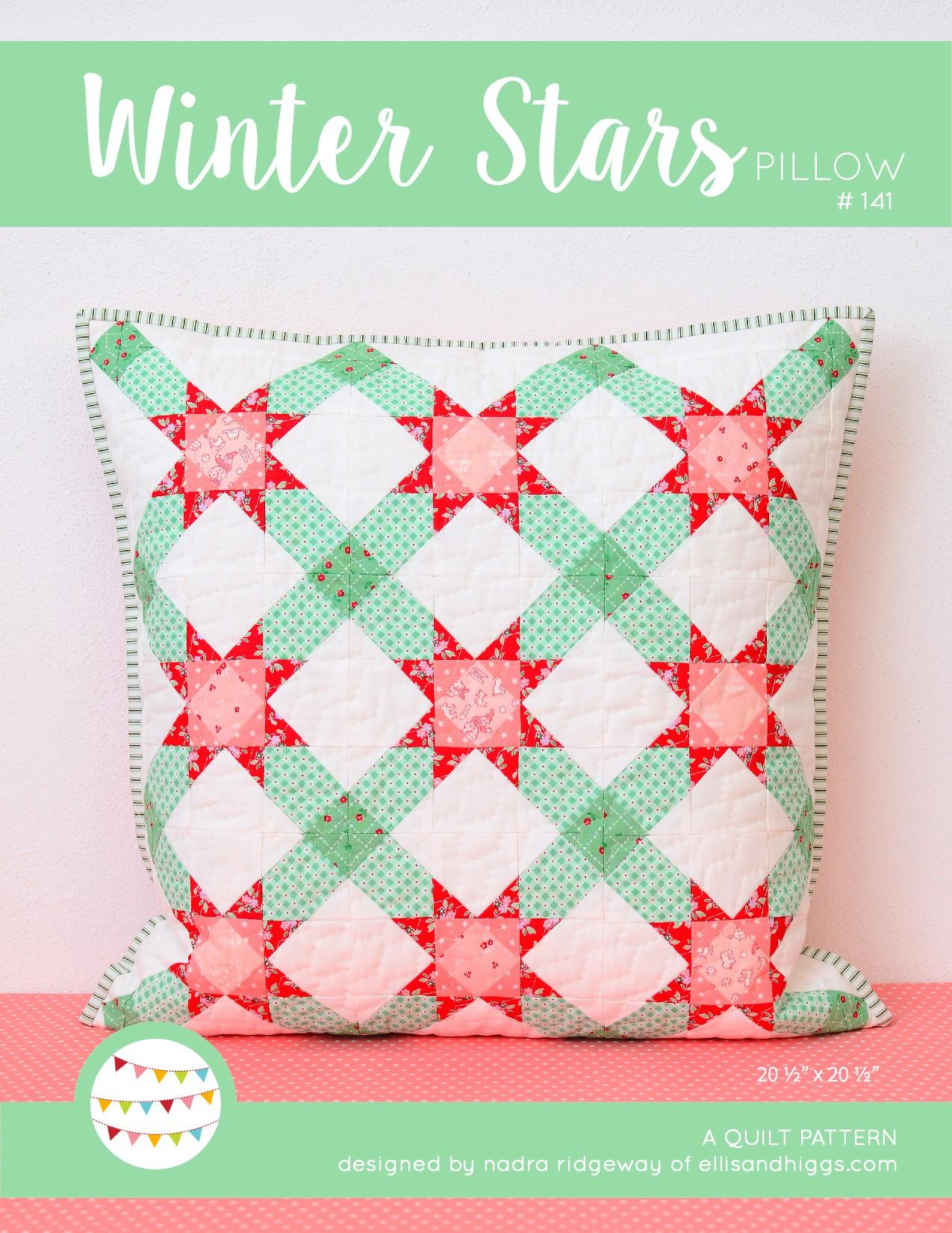 Winter Stars Pillow Mini Quilt Pattern - Christmas Quilt Pattern