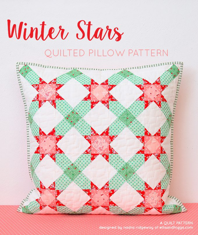 Winter Stars Pillow Mini Quilt Pattern - Christmas Quilt Pattern