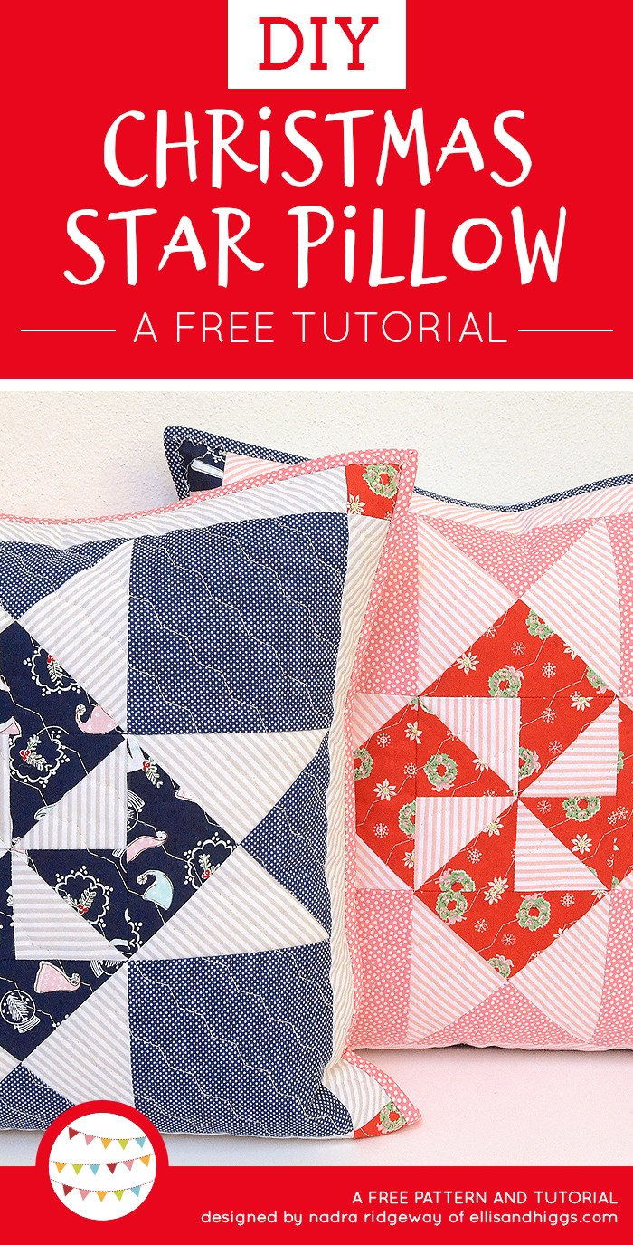 Free DIY Christmas Tutorials - Star Quilt Pillow