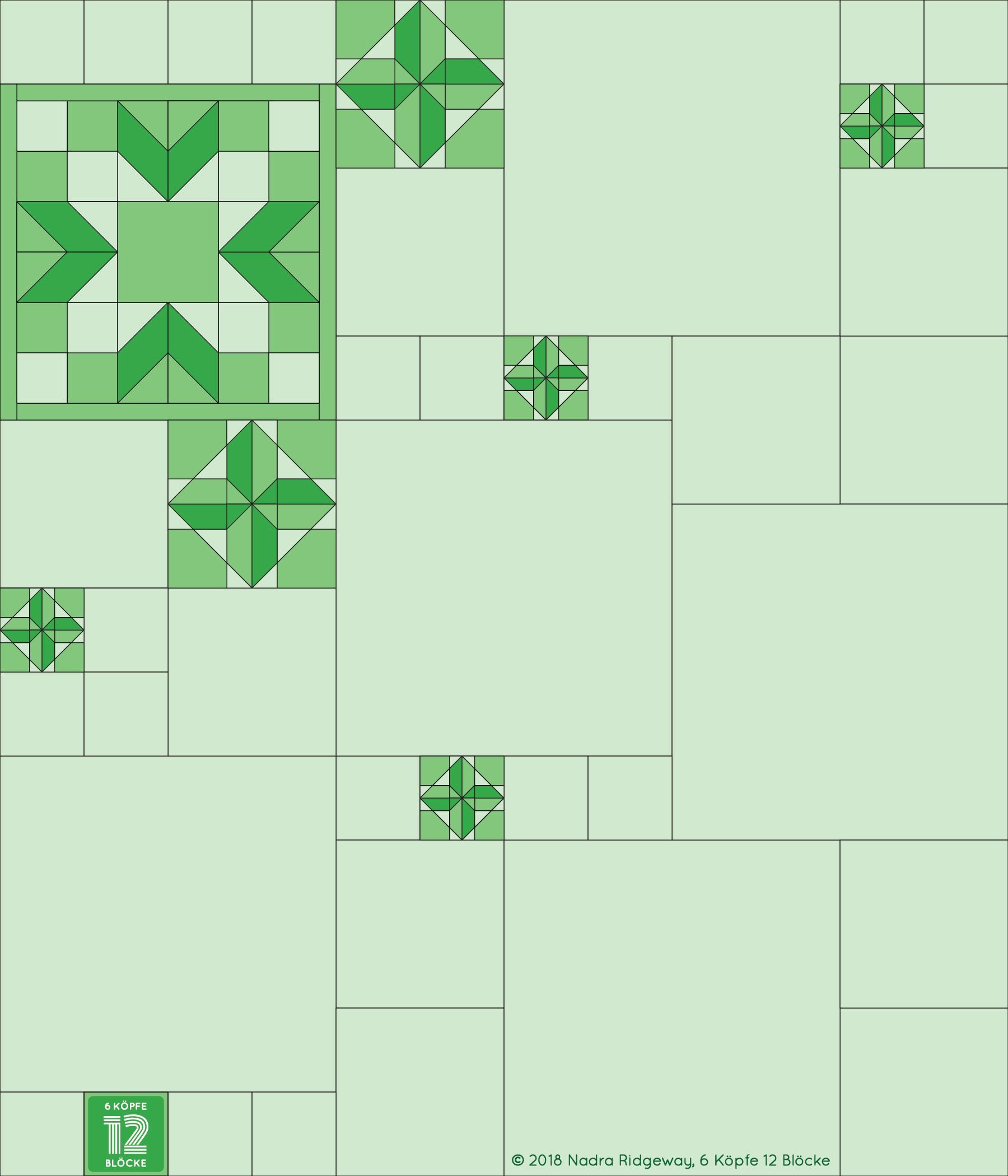 6 Köpfe 12 Blöcke 2019 - Propeller Quilt Block