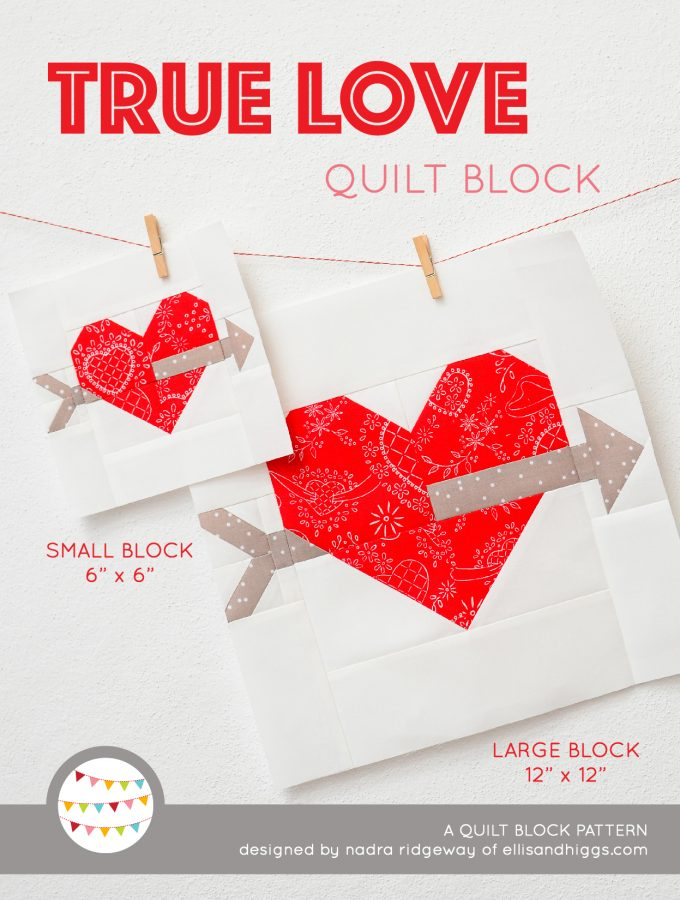 Cupids Arrow Quilt Block Pattern - Valentine's Day Quilt Pattern