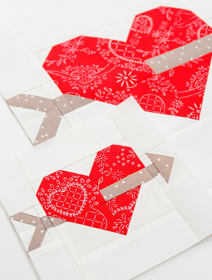 Cupids Arrow Heart Quilt Block Pattern - Valentine's Day Quilt Pattern