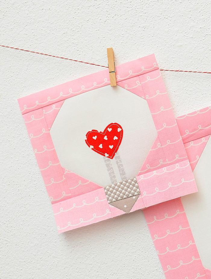 Heart Bulb Quilt Block - Valentine's Day Quilt Pattern