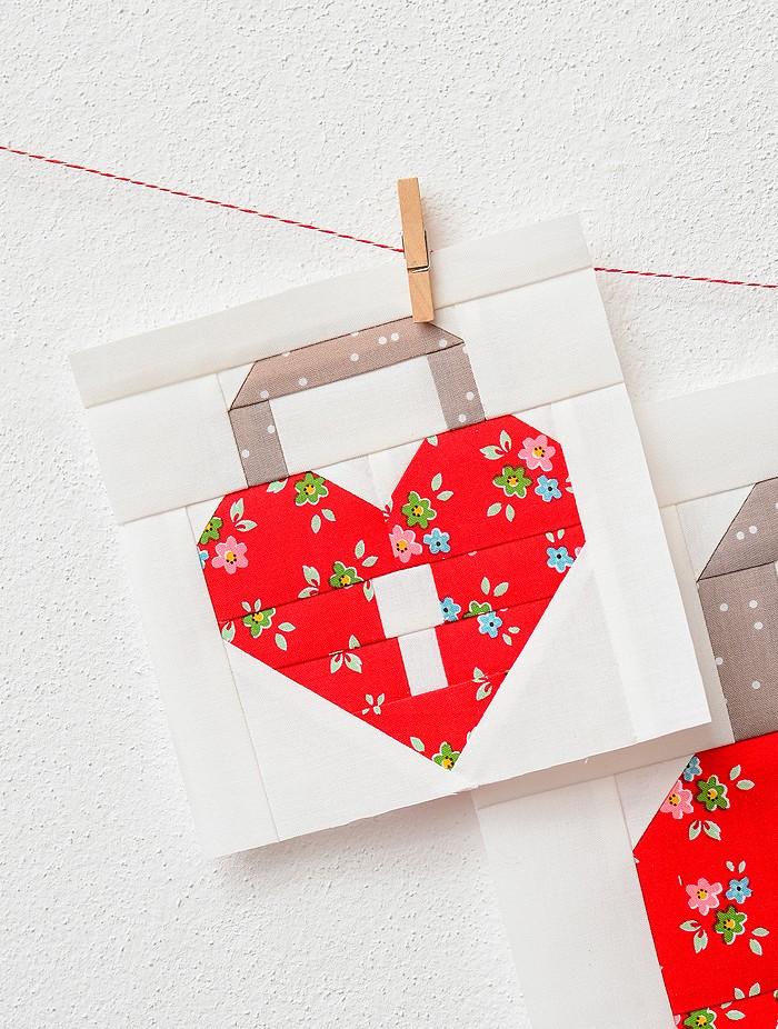 Heart Padlock Quilt Block - Valentine's Day Quilt Pattern