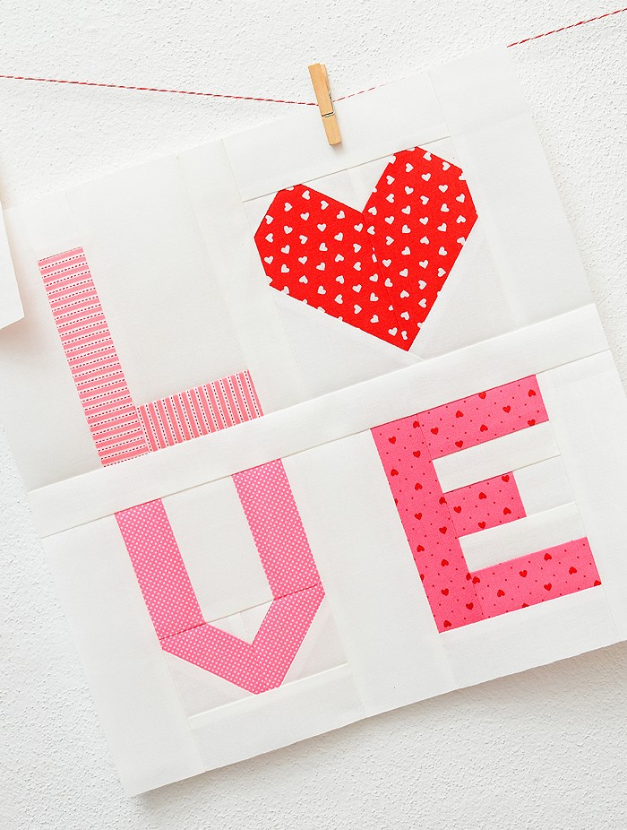 Love Sign Quilt Block - Valentine's Day Quilt Pattern