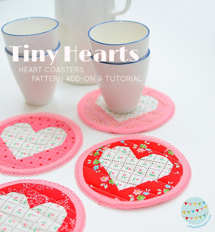 Valentine's Day heart coasters Tutorial & Pattern add-on