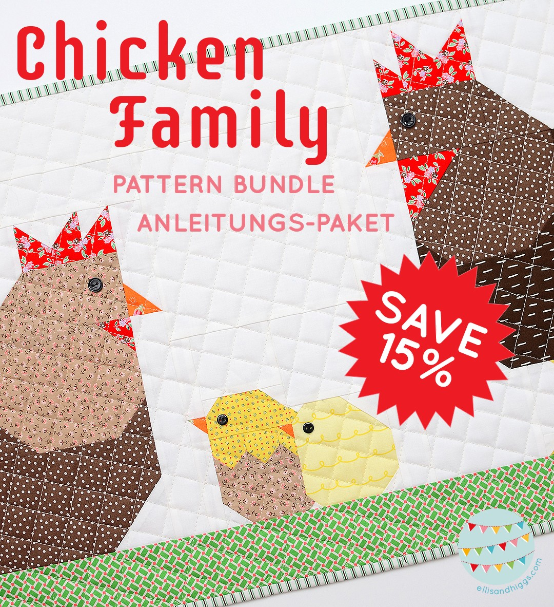 Chicken Family Table Runner - Easter Quilt Pattern 6