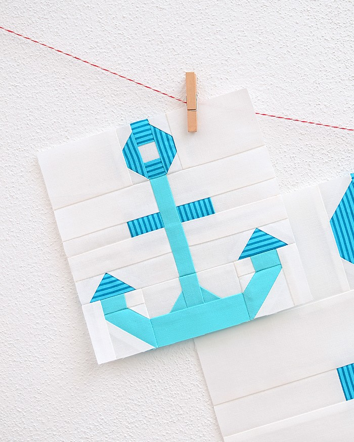 6 Inch Anchor quilt block hanging on the wall