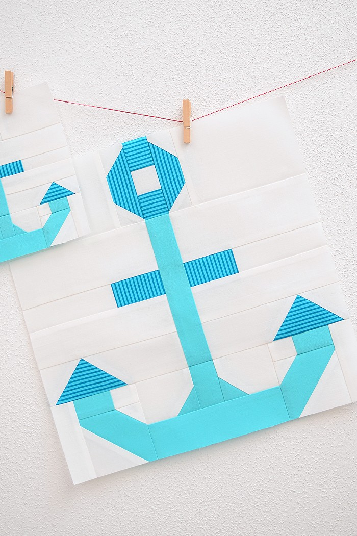12 Inch Anchor quilt block hanging on the wall