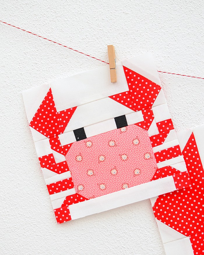 6 Inch Crab quilt block hanging on a wall