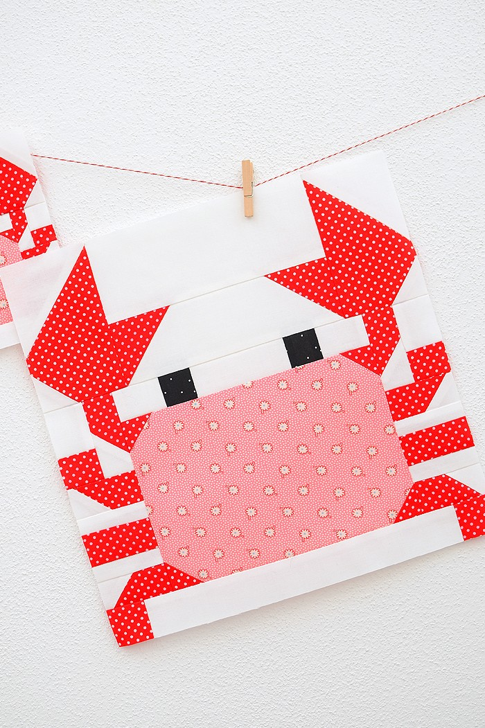 12 Inch Crab quilt block hanging on a wall