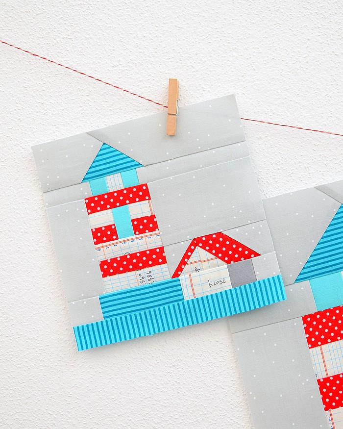 6 Inch Lighthouse quilt block hanging on a wall