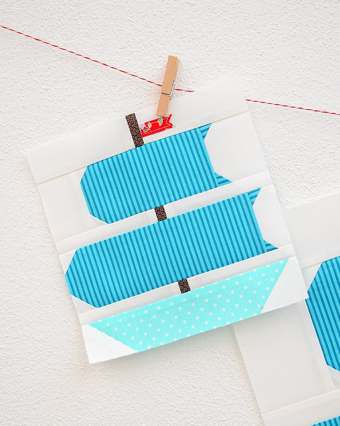 6 Inch Sail boat quilt block hanging on a wall