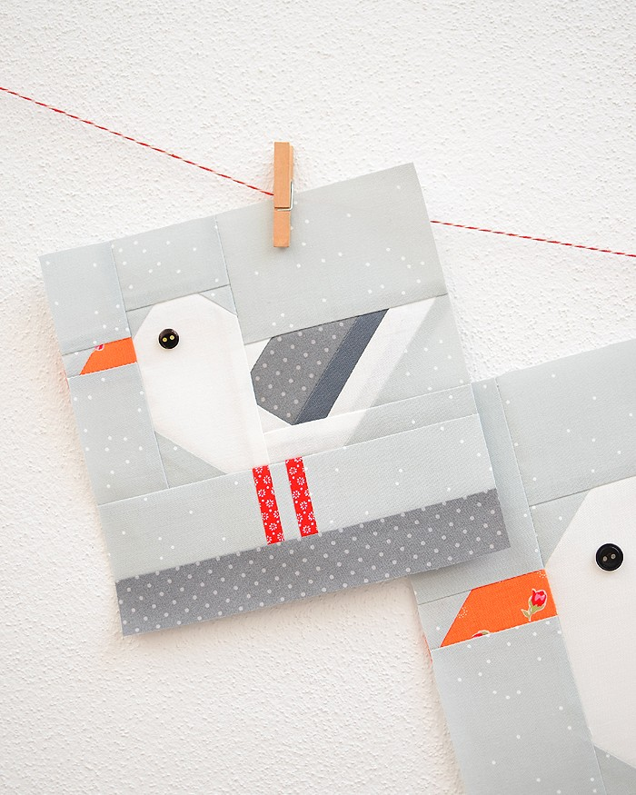 6 Inch Seagull quilt block hanging on a wall