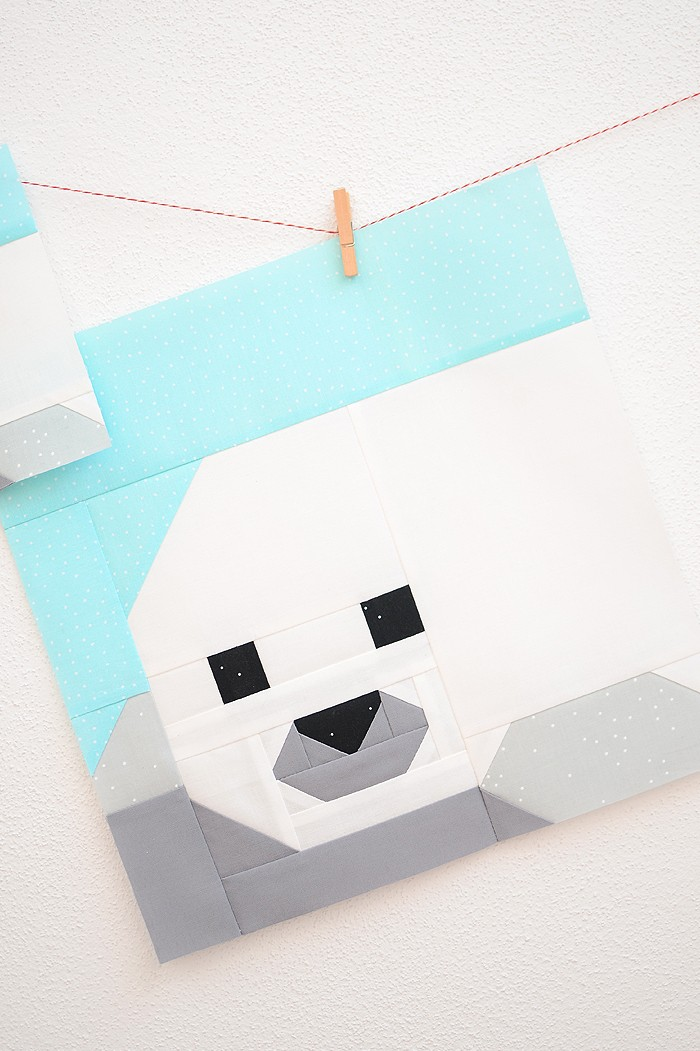 12 Inch Seal Pup quilt block hanging on a wall