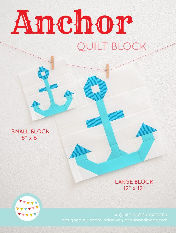 Anchor quilt block in two sizes hanging on a wall