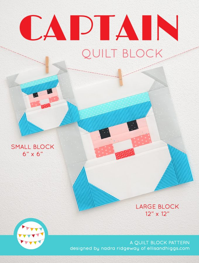 Captain quilt block in two sizes hanging on a wall