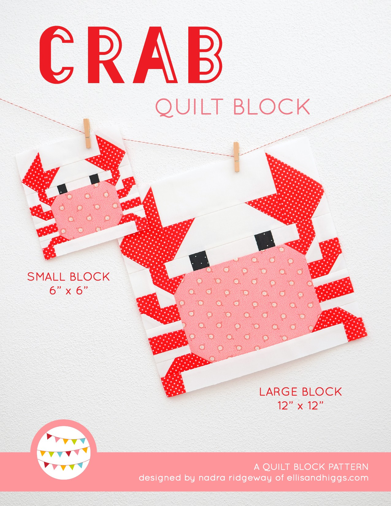 Crab quilt block in two sizes hanging on a wall