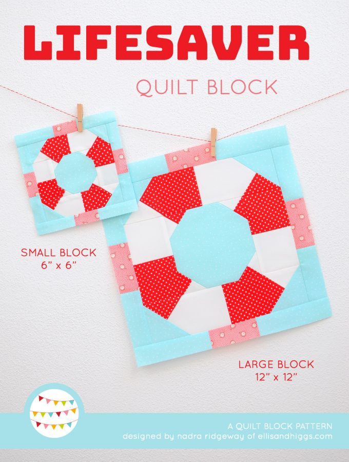 Lifesaver quilt block in two sizes hanging on a wall