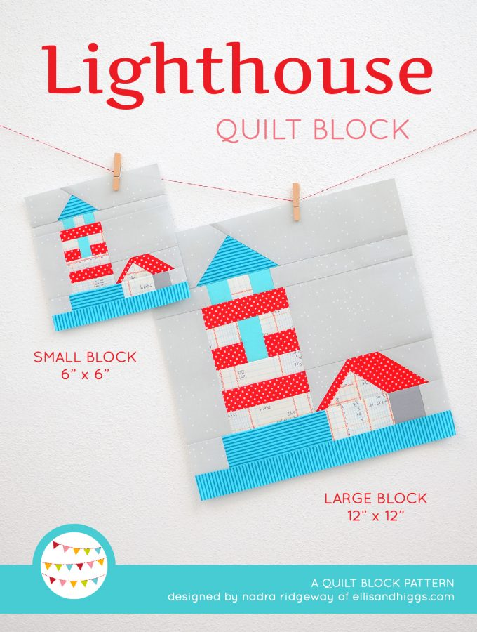 Lighthouse quilt block in two sizes hanging on a wall