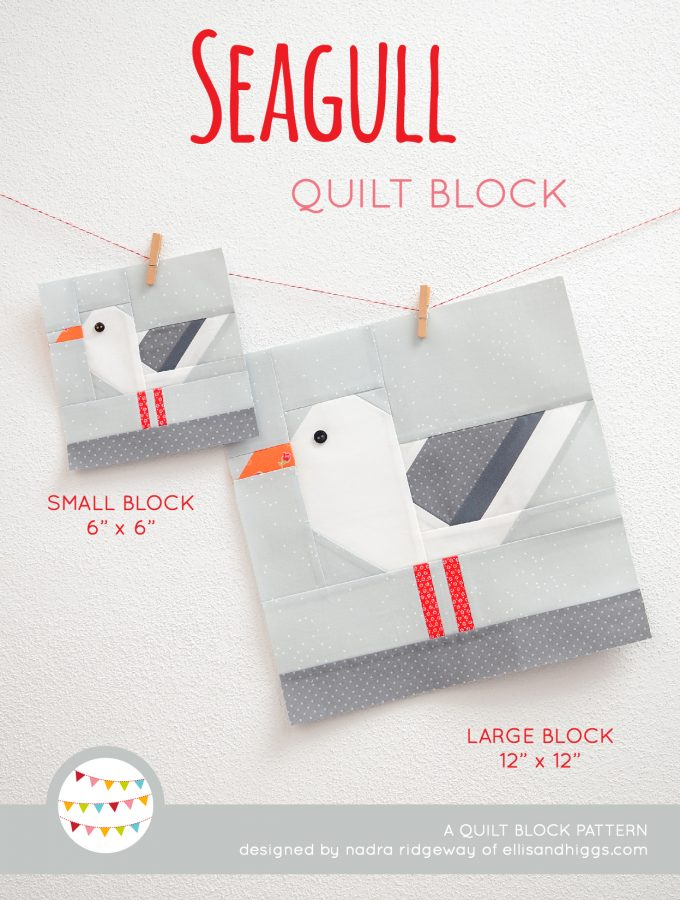 Seagull quilt block in two sizes hanging on a wall