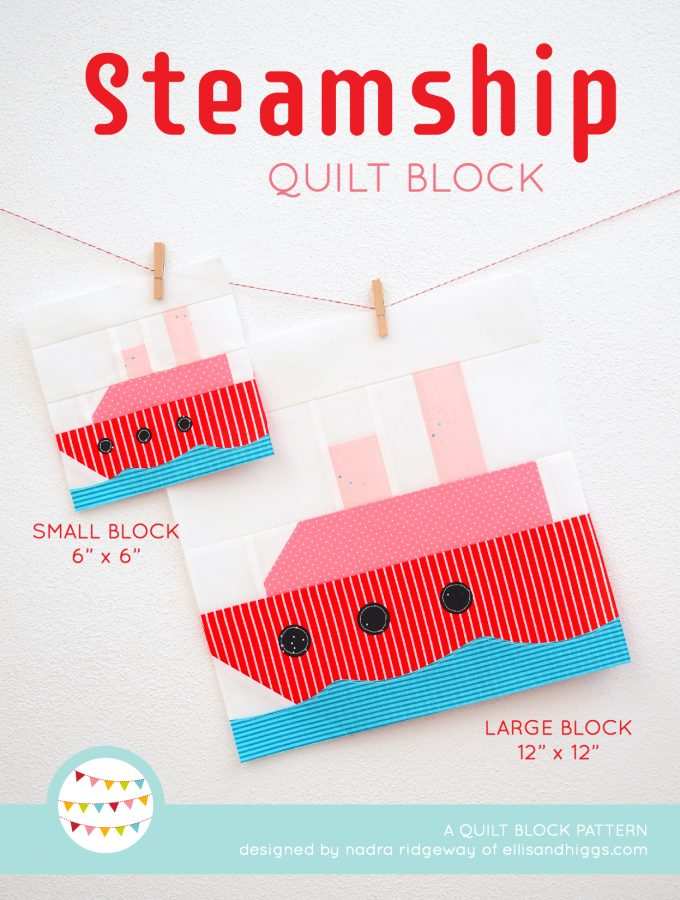 Steamship quilt block in two sizes hanging on a wall